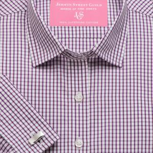 Purple Knightsbridge Check Poplin Women's Shirt Available in Six Styles