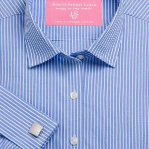 Blue Mayfair Stripe Poplin Women's Shirt Available in Six Styles