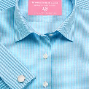 Aqua Gingham Check Poplin Women's Shirt Available in Six Styles