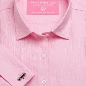 Pink Royal Herringbone Women's Shirt Available in Six Styles