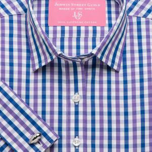 Purple & Navy Buckingham Check Poplin Women's Shirt Available in Six Styles