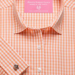 Orange Bold Check Poplin Women's Shirt Available in Six Styles