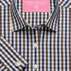 Brown & Navy Buckingham Check Poplin Women's Shirt Available in Six Styles