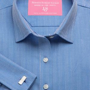 Navy Royal Herringbone Women's Shirt Available in Six Styles