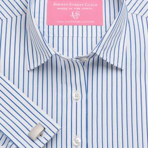 Blue Piccadilly Stripe Poplin Women's Shirt Available in Six Styles
