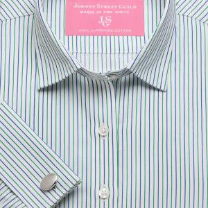 Green Marylebone Stripe Twill Women's Shirt Available in Six Styles