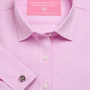 Pink Gingham Check Poplin Women's Shirt Available in Six Styles