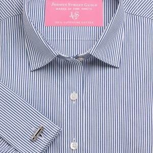 Navy Edinburgh Stripe Poplin Women's Shirt Available in Six Styles