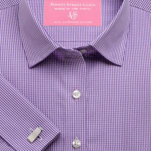Purple Gingham Check Poplin Women's Shirt Available in Six Styles