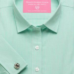 Green Gingham Check Poplin Women's Shirt Available in Six Styles
