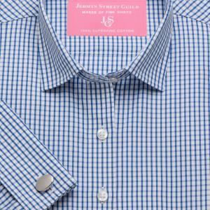 Blue Knightsbridge Check Poplin Women's Shirt Available in Six Styles