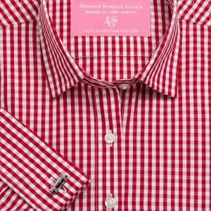 Red Bold Check Poplin Women's Shirt Available in Six Styles