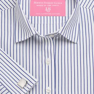 Navy Piccadilly Stripe Poplin Women's Shirt Available in Six Styles