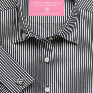 Black Mayfair Stripe Poplin Women's Shirt Available in Six Styles