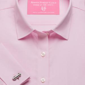 Pink End on End Poplin Women's Shirt Available in Six Styles