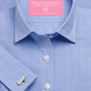 Blue Prince of Wales Check Poplin Women's Shirt Available in Six Styles