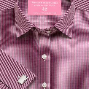 Burgundy Gingham Check Poplin Women's Shirt Available in Six Styles