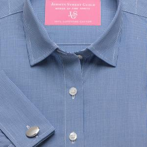 Navy Micro Check Poplin Women's Shirt Available in Six Styles