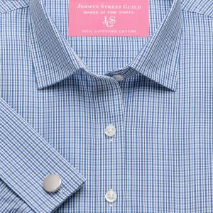 Blue Trafalgar Check Poplin Women's Shirt Available in Six Styles
