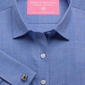 Navy Large Prince of Wales Check Poplin Women's Shirt Available in Six Styles