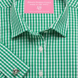 Green Bold Check Poplin Women's Shirt Available in Six Styles
