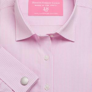 Pink Edinburgh Check Poplin Women's Shirt Available in Six Styles