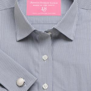 Grey Gingham Check Poplin Women's Shirt Available in Six Styles