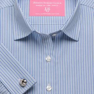 Blue Trafalgar Stripe Poplin Women's Shirt Available in Six Styles