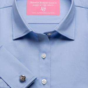 Blue Plain Sateen Women's Shirt Available in Six Styles