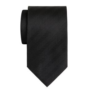 Black Plain Herringbone Tie