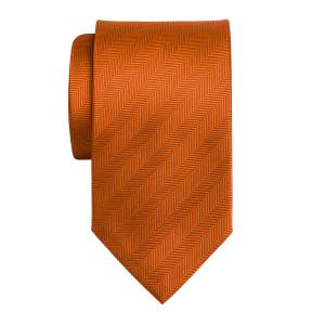 Orange Plain Herringbone Tie