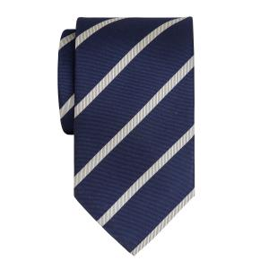 White on Navy Herringbone Stripe Tie