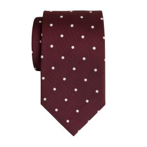 White on Burgundy Large Spot Tie