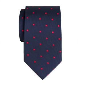 Red on Navy Large Spot Tie