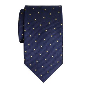 Gold on Navy Small Spot Tie