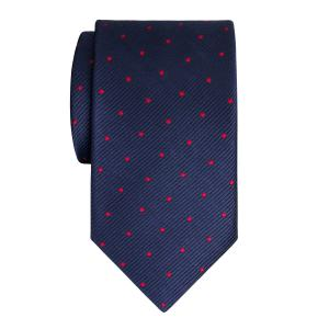 Red on Navy Small Spot Tie