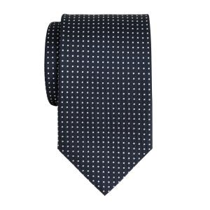 White on Navy Pindot Tie