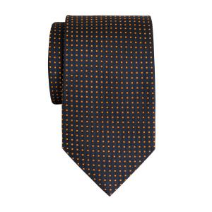 Orange on Navy Pindot Tie