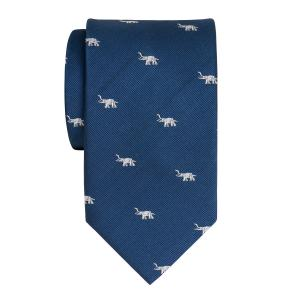 White on Navy Elephant Motif Tie