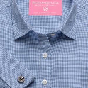 Blue Houndstooth Check Twill Women's Shirt Available in Six Styles