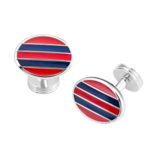Red & Navy Stripe Oval Cufflink