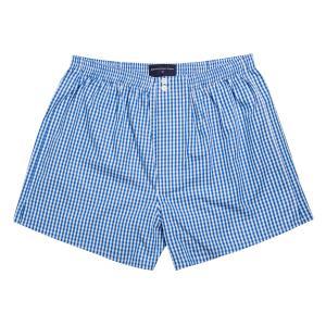 Blue Bold Check Poplin Boxer Shorts