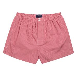 Red Gingham Check Poplin Boxer Shorts