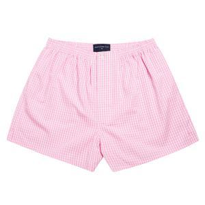 Pink Bold Check Poplin Boxer Shorts