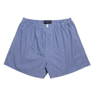 Navy Gingham Check Poplin Boxer Shorts
