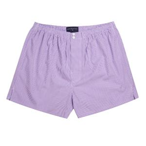 Purple Gingham Check Poplin Boxer Shorts