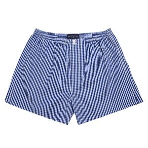 Navy Bold Check Poplin Boxer Shorts