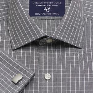 Charcoal Westminster Check Poplin Men's Shirt Available in Four Fits
