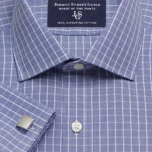 Navy Westminster Check Poplin Men's Shirt Available in Four Fits
