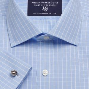 Sky Westminster Check Poplin Men's Shirt Available in Four Fits